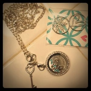 Origami Owl necklace with Swarovski & Pave charms